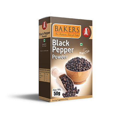 Black Pepper Powder 50g, 100g Pouch & Box and 500g Pouch